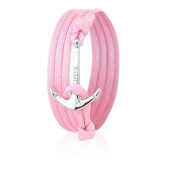 Шкипер якорь браслет браслет в розовый нейлона с Серебряный якорь 7072