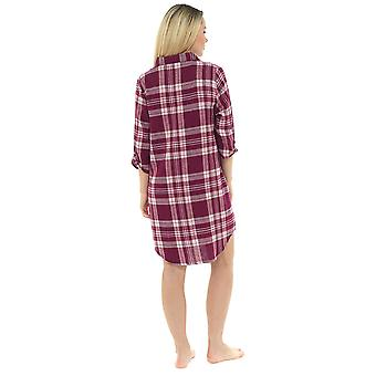 Ladies 100% Cotton Yarn Dyed Plaid Check Nightdress Nighty Sleepwear 8-10 Wine Check
