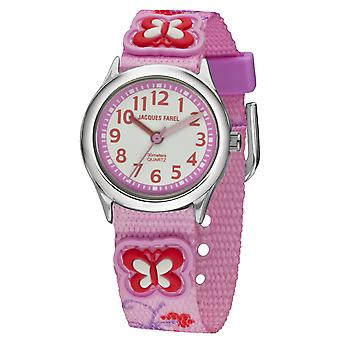 JACQUES FAREL Kids Wristwatch Analog Quartz Girl Textile Ribbon HCC 3132 Butterfly