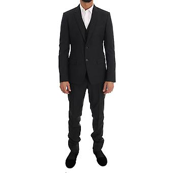 Gray Patterned Wool 3 Piece Slim Suit