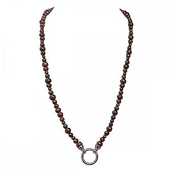 Nikki Lissoni Brown Pearl Silver Plated Beaded Necklace