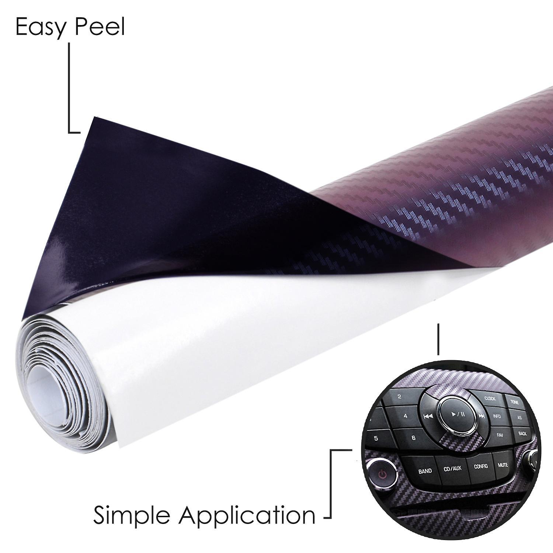 TRIXES Self Adhesive 3D Carbon Vinyl Wrap 1500 x 300mm Colour Glossy Purple