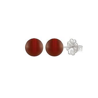 Éternelle Collection Solo cornaline Semi précieux en argent Sterling Stud boucles d'oreilles