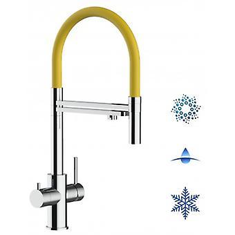 5-vägs Inox filter Tap gul pip och 2 jets spray, perfekt för gnistrande, släta och kylda vattensystem-polerad-437