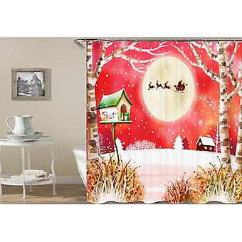 Rustic Christmas Painting Shower Curtain