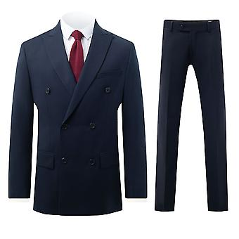 Dobell Mens Navy 2 Piece Suit Regular Fit Double Breasted Peak Lapel