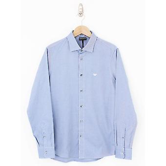 Emporio Armani Trim Placket gewebt Shirt - blaues Licht