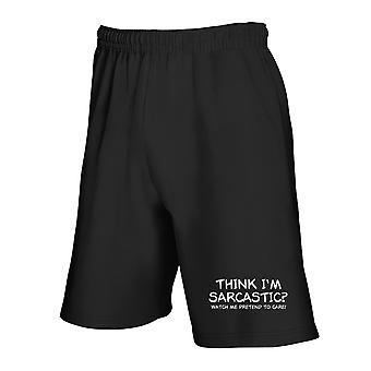 Black trk0329 sarcastic care tracksuit shorts