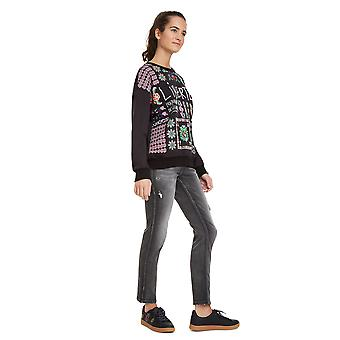 Desigual Women's Tiana Mexican Inspired Pattern Neon Sweater