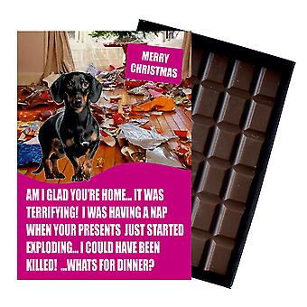 Dachshund Funny Christmas Gift for Dog Lover Boxed Chocolate Greeting Card Xmas Present