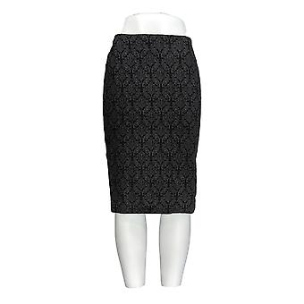 Dennis Basso Skirt Solid Jacquard Pencil Gray A284836