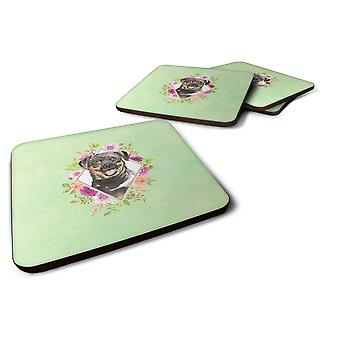 Set of 4 Rottweiler Green Flowers Foam Coasters Set of 4