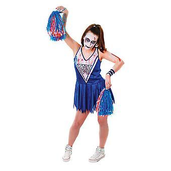 Costume Halloween di zombie Cheerleader, blu/bianco