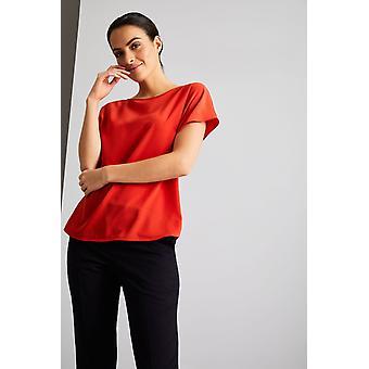 SIMON JERSEY Women's Essentials Slash Neck Blouse, Red