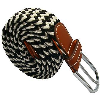 Bassin and Brown Striped Elasticated Woven Buckle Belt - Black/White