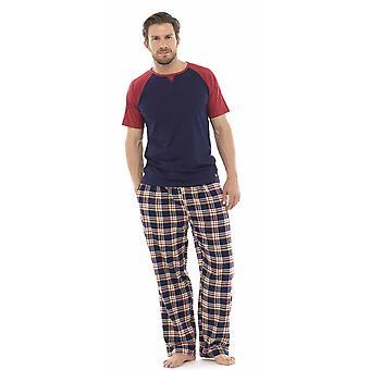 Wolf & Harte Mens Jersey Cotton Check Nightwear Pyjamas Lounge Wear