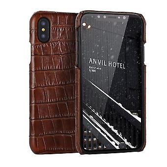 For iPhone XS MAX Cover, ægte krokodille læder tilbage shell telefon sag, Brun