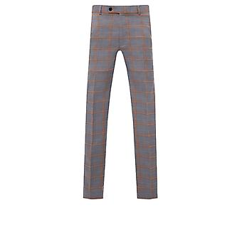 Avail London Mens Grey Suit Trousers Skinny Fit Prince of Wales Check