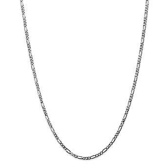 14k hvitt gull hummer klo lukking 3,0 mm flat figaro kjede armbånd smykker gaver til kvinner - lengde: 7 til 8