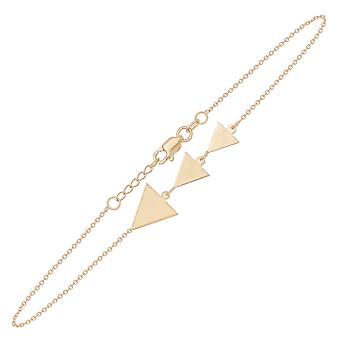 14k Yellow Gold Gradual Triangle Cut Out Back Sparkle Cut Cable Bracelet 7.50 Inch Jewelry Gifts for Women