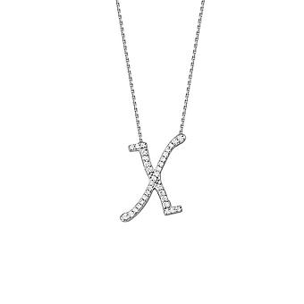 925 Sterling Silver Cubic Zirconia Initial X Adjustable 16 18 Inch Necklace 18 Inch Jewelry Gifts for Women