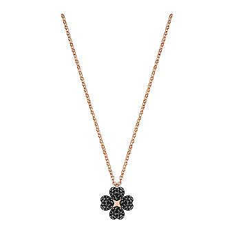 Swarovski Latisha Flower Rose Gold Tone Plated With Black & Clear Crystal Reversible Pendant