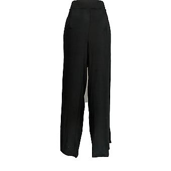 Anybody Women's Pants Tall Cozy Knit Wide-Leg Pants Black A347174