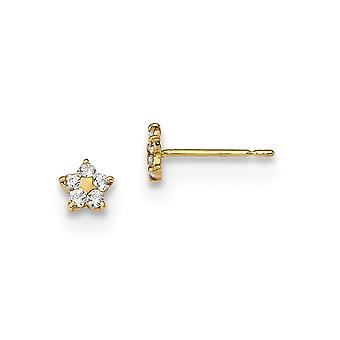 4.5mm 14k Madi K Kids CZ Cubic Zirconia Simulated Diamond Star Post Earrings Jewelry Gifts for Women
