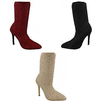 Anne Michelle Womens/Ladies High Heel Diamante Studded Calf Boots
