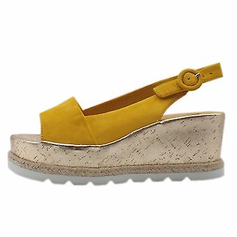 Högl 7-10 3242 Corded Platform Wedge Sandals In Yellow Suede
