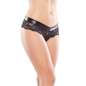 Womens Plus Size Black Wet look Low Rise Chain Panty Underwear