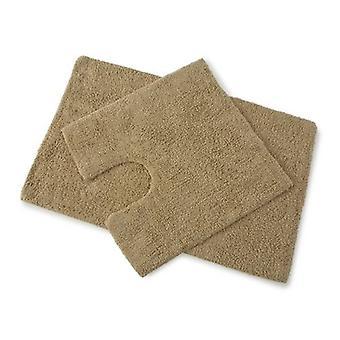 Ensemble TAPI bain 100 % coton premier noyer brun et socle