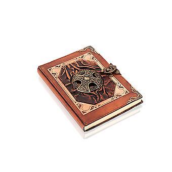 Äkta läderbunden celtic cross journal notebook av Woodland Leathers