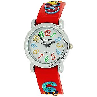 Citron Analogue Girls - Kids White Dial Red Numbers Silicone Strap Watch KID89