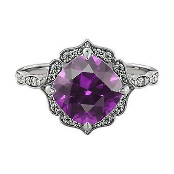 14K hvitt gull 1,25 ctw ametyst Ring med diamanter blomst blader Halo