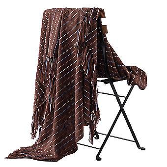Jednobarevná akrylová vafle pletená střapce deka