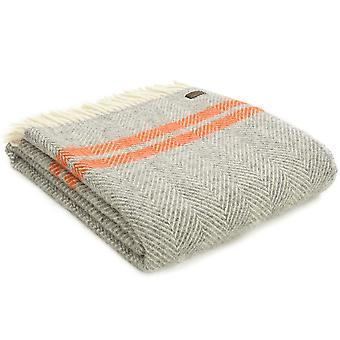 Tweedmill Pure New Wool Fishbone 2 Stripe Grey & Pumpkin Throw