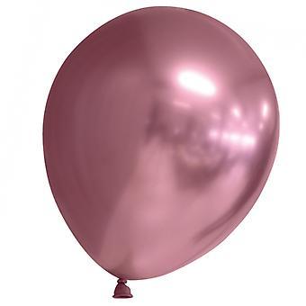 Sassier Balloons Latex Chrome - France Miroir Rose Réflexe - 24-pack
