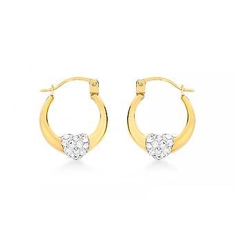 Eternity 9ct Gold Kids Small Crystal Set Heart Creole Hoop Earrings