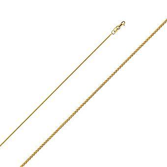 14 k Gelbgold 1,1 mm Runde Weizen Kette Halskette Schmuck Geschenke für Frauen - Länge: 16 bis 24