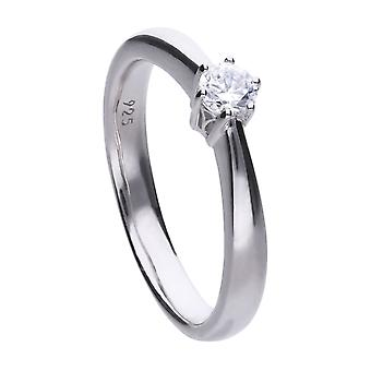 Diamonfire R3617 Claw Set 0.25ct Solitaire Ring Size N