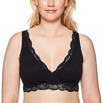 Arabella Women's All Over Lace Supportive Bralette, Black, XL