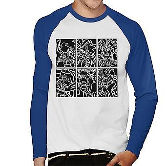 Sonic The Hedgehog Sketch Panels Men's Baseball Long Sleeved T-Shirt