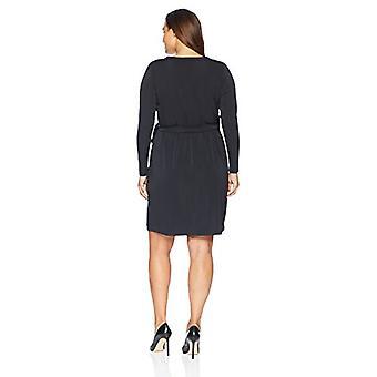 Lark & Ro Women's Plus Size Signature Long Sleeve Wrap Dress, Black, 2X