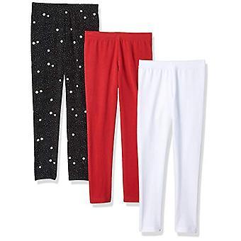 Essentials   Girls' 3-Pack Legging, Flower/Pink/White XL