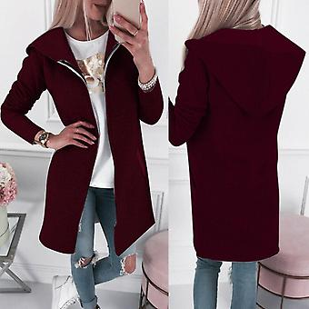 Womens Casual Stylish Winter Zip Up Hooded Hoodie Coat