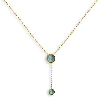 ADEN Gold Plated Faceted Labradorite Round Shape Necklace (id 4422)
