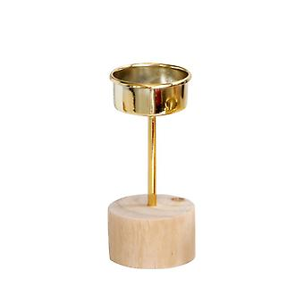 Wooden Base Gold Candle Holder Decor Height 10.5CM