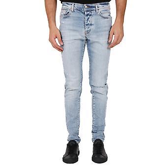 Amiri W0m01101slbl Men's Light Blue Cotton Jeans