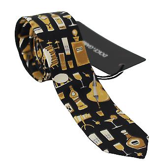 Black printed 100% silk classic wide necktie tie